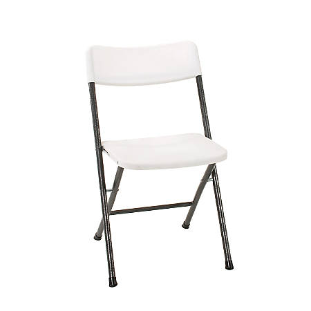 Cosco® Resin Folding Chairs, White Speckle/Pewter, Set Of 4
