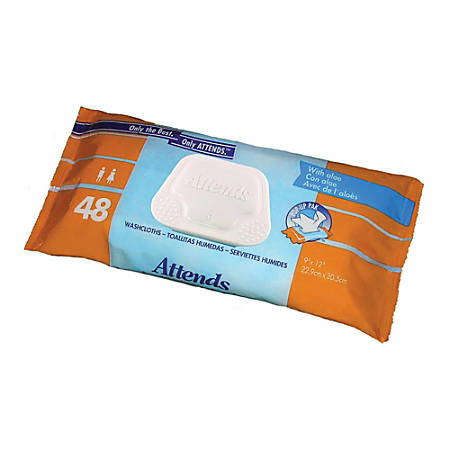 """Attends® Washcloths™, 8"""" x 12 1/2"""", Pop-Up Pack Of 48"""