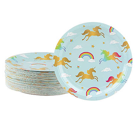Disposable Plates - 80-Count Paper Plates, Rainbow Unicorn Party Supplies For Appetizer, Lunch, Dinner, And Dessert, Kids Birthdays, 9 X 9 Inches