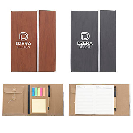 """Woodgrain Padfolio With Sticky Notes And Flags, 7"""" x 5 1/4"""""""