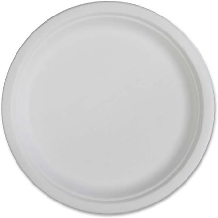 "Genuine Joe Compostable Plates - 10"" Diameter Plate - Disposable - White - 50 Piece(s) / Pack"