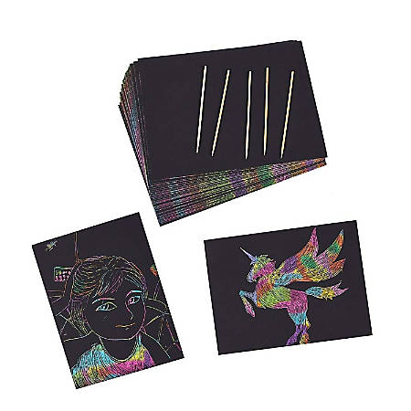 Juvale Rainbow Scratch Paper With 5 Wooden Stylus Pens - 50-Pack Rainbow Scratch-Off Art Paper, Black Doodle Pad With Rainbow Background, Art Supplies For Kids, 8.25 X 11 Inches
