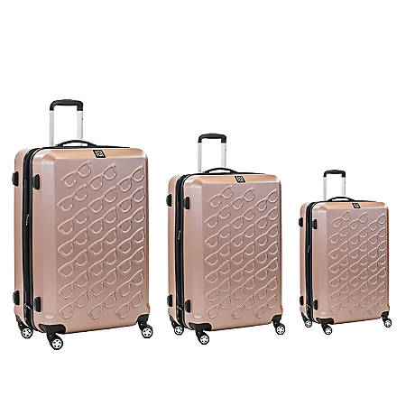 ful Sunglasses ABS Rolling 3-Piece Suitcase Luggage Set, Gold