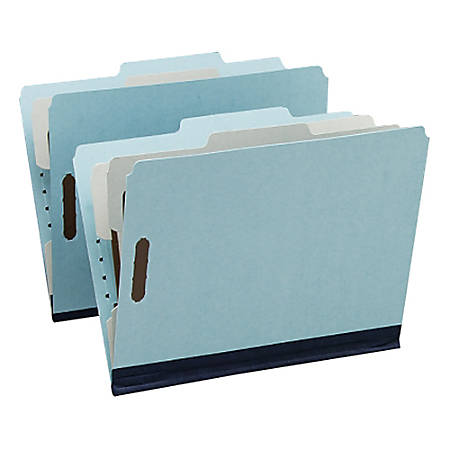 """Oxford® Pressboard Partition Folders, Letter Size, 1"""" Expansion, 2 Partitions, 65% Recycled, Blue/Gray, Box Of 10"""