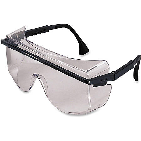 Uvex Safety Astro OTG 3001 Safety Glasses - Scratch Resistant, Adjustable, Adjustable Temple, Comfortable, Cushioned - Polycarbonate Lens, Nylon Frame, Nylon Temple - Clear, Black - 1 Each