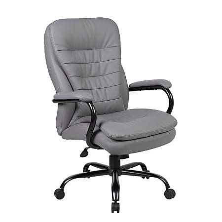 Boss CaressoftPlus™ Heavy-Duty Fabric High-Back Chair, Gray
