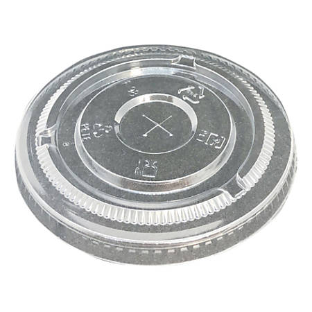 """Edris Plastics Flat Lids With Straw Slots, For 8- And 10-Oz Cups, 3-1/16"""", 50% Recycled, Clear, Carton Of 1,000 Lids"""