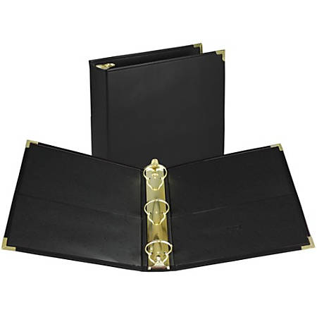 """Samsill Leather-like Classic Collectn Ring Binder - 2"""" Binder Capacity - Letter - 8 1/2"""" x 11"""" Sheet Size - 400 Sheet Capacity - 3 x Round Ring Fastener(s) - 2 Inside Front & Back Pocket(s) - Vinyl - Black - 1 Each"""