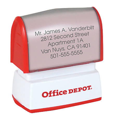 "Custom Office Depot® Brand Small Pre-Inked Stamp, 9/16"" x 1 1/2"" Impression"