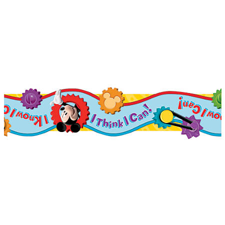 """Eureka Wide Die-Cut Deco Trim® Borders, 3 1/4"""" x 37"""", Mickey Mouse Clubhouse® I Think I Can, Pre-K to Grade 6, Pack Of 12"""
