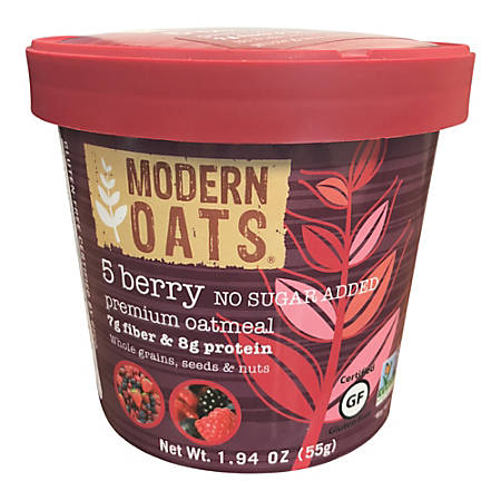 Modern Oats Premium Oatmeal Cups, 5 Berry No Sugar Added, 1.94 Oz, Pack Of 12 Cups