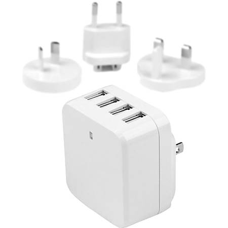 StarTech.com Travel USB Wall Charger - 4 Port - White - Universal Travel Adapter - International Power Adapter - USB Charger - 120 V AC, 230 V AC Input - 5 V DC/6.80 A Output