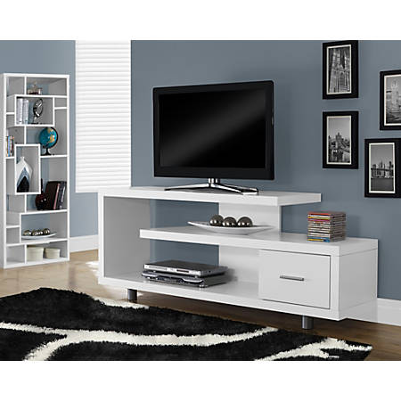 """Monarch Specialties Art Deco TV Stand For TVs Up To 60"""", White"""