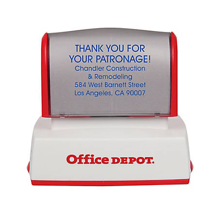 "Office Depot® Brand Pre-Inked Stamp, 1 3/16"" x 2"" Impression"
