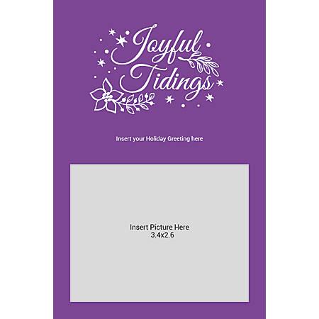 Flat Photo Greeting Card, Joyful Tidings Purple, Vertical