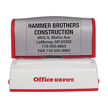 "Office Depot® Brand Pre-Inked Stamp, 1 1/2"" x 2 7/16"" Impression"