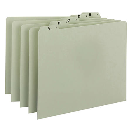 Smead® A-Z Pressboard File Guides, 1/5 Cut, Letter Size, 100% Recycled, Green, Pack Of 25