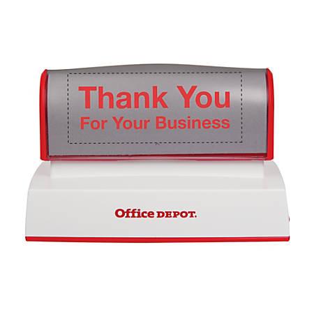"Custom Office Depot® Brand Pre-Inked Stamp, 1-3/4"" x 3-3/4"" Impression"