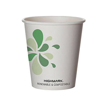 Highmark® Renewable Hot Drink Cups, 10 Oz, White/Green/Black, Pack Of 50