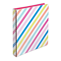 "Divoga® Binder, Sweet Smarts Collection, 1"" Rings, Rainbow Stripes"