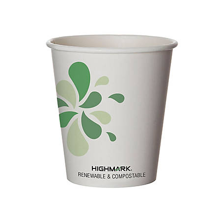 Highmark® Renewable Hot Drink Cups, 10 Oz, White/Green/Black, Pack Of 500