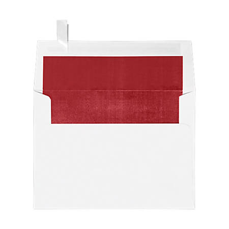"LUX Invitation Envelopes With Peel & Press Closure, A7, 5 1/4"" x 7 1/4"", Red/White, Pack Of 50"