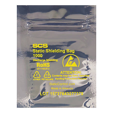 "Office Depot® Brand Reclosable Static Shielding Bags, 4 x 5"", Transparent, Case Of 100"