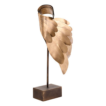 """Zuo Modern Wings Sculpture, 17 3/4""""H x 8 3/4""""W x 5 1/2""""D, Brass"""