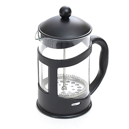 "Mind Reader 3.4-Cup Glass French Press, 8 1/4""H x 6 13/16""W x 4""D, Black"