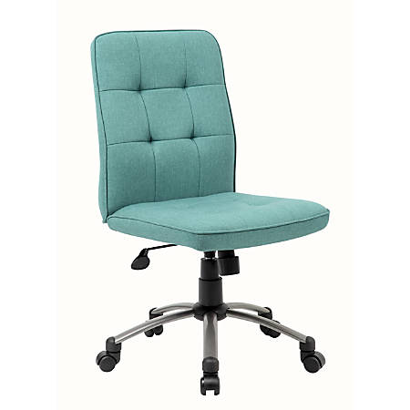 Boss Modern Fabric Mid-Back Task Chair, Green/Pewter