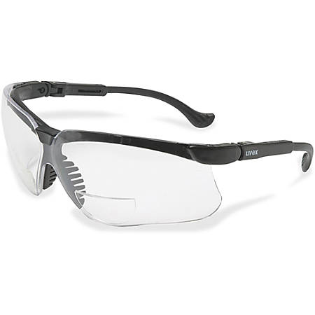 Uvex Safety Genesis 2 Magnifier Readers - Scratch Resistant, Flexible, Padded, Adjustable Temple, Comfortable - Clear, Black - 1 Each