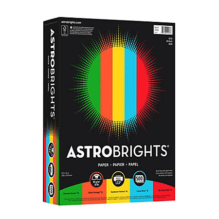 "Astrobrights® Color Card Stock, 8 1/2"" x 11"", FSC® Certified, 24 Lb, 30% Recycled, Assorted Colors, Ream Of 500 Sheets"