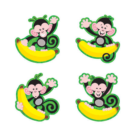 "TREND Monkeys And Bananas Mini Bulletin Board Accents, 3"", Multicolor, Pre-K - Grade 8, Pack Of 36"
