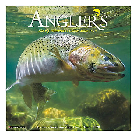 "Willow Creek Press Scenic Monthly Wall Calendar, 12"" x 12"", Angler's, January To December 2020"