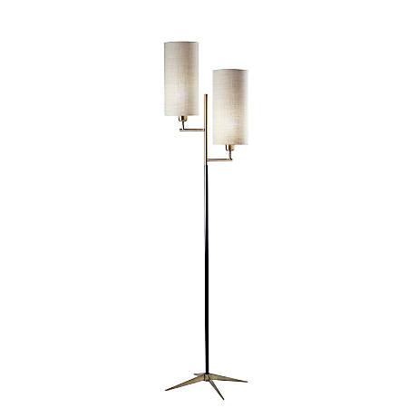 "Adesso® Davis Floor Lamp, 69-3/4""H, Matte Black/Antique Brass"