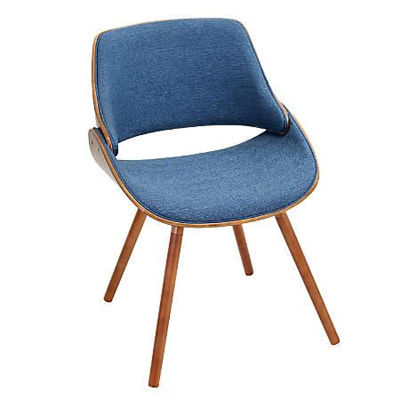 Lumisource Fabrizzi Chair, Denim Blue/Walnut