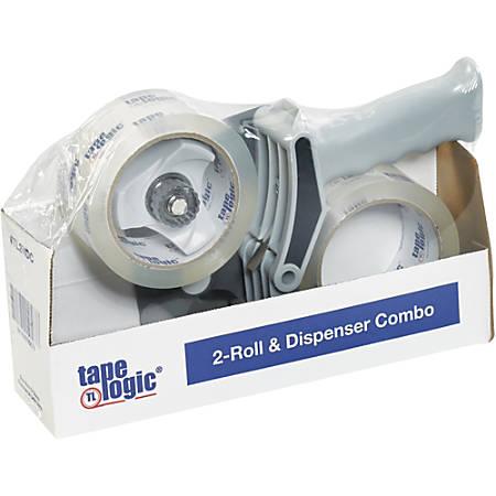 "Tape Logic® Crystal Clear Tape With 2"" Top Sealing Gun Carton Sealing Dispenser, 3"" Core, 2"" x 55 Yd., Clear"