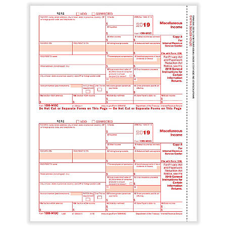 """ComplyRight™ 1099-MISC Tax Forms, Laser Cut, Federal Copy A, 8-1/2"""" x 11"""", Pack Of 50 Forms"""