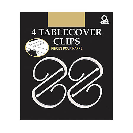 "Amscan Plastic Table Cover Clips, 2-1/2"" x 1-1/4"", Clear, 4 Clips Per Pack, Set Of 12 Packs"