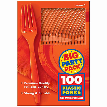 """Amscan Big Party Pack Midweight Plastic Forks, 7"""", Orange Peel, 100 Forks Per Box, Pack Of 2 Boxes"""