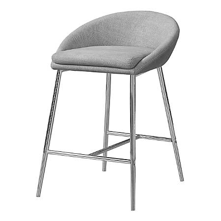 Monarch Specialties Counter-Height Bar Stools, Gray/Chrome, Pack Of 2 Stools