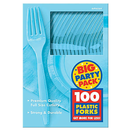 """Amscan Big Party Pack Midweight Plastic Forks, 7"""", Caribbean Blue, 100 Forks Per Box, Pack Of 2 Boxes"""