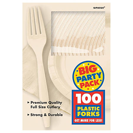 """Amscan Big Party Pack Midweight Plastic Forks, 7"""", Vanilla Crème, 100 Forks Per Box, Pack Of 2 Boxes"""