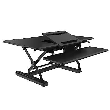 Loctek P-Series Sit-Stand Riser With Drop-Down Keyboard Tray, Black