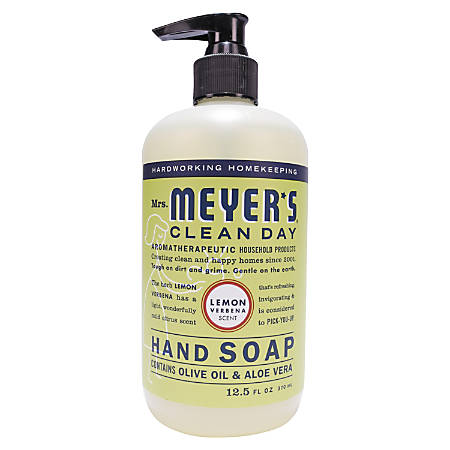Mrs. Meyer's Clean Day Liquid Hand Soap, Lemon Scent, 12.5 Oz, Pack Of 6 Bottles