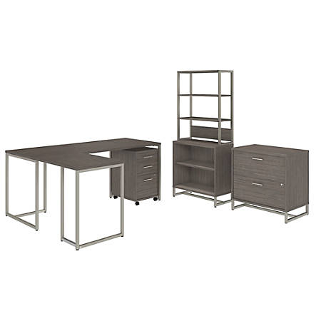 """kathy ireland® Office by Bush Business Furniture Method 72""""W L Shaped Desk with 30""""W Return, File Cabinets and Bookcase, Cocoa, Premium Installation"""