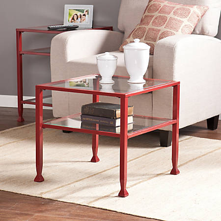 Southern Enterprises Bunching Cocktail Table, Square, Clear/Red