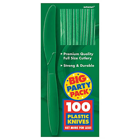"Amscan Big Party Pack Midweight Plastic Knives, 7-1/2"", Festive Green, 100 Knives Per Box, Pack Of 2 Boxes"
