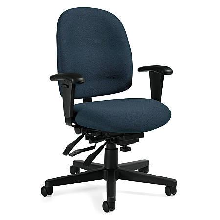 "Global® Granada Multi-Tilter Low-Back Chair, 40""H x 26""W x 22 1/2""D, Sapphire/Black"