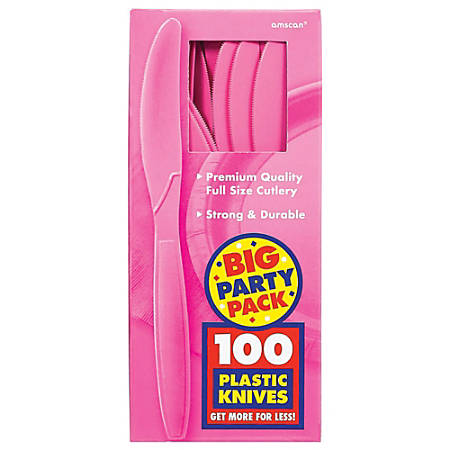 "Amscan Big Party Pack Midweight Plastic Knives, 7-1/2"", Bright Pink, 100 Knives Per Box, Pack Of 2 Boxes"